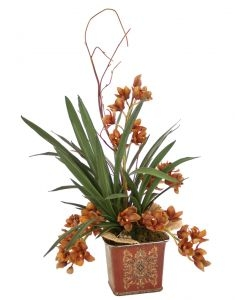 Brown Orchids w/ Blades, Mushrooms in Square Porcelain Planter
