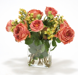 Roses and Greenery in Glass Rectangular Vase