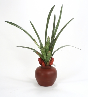 Silk Bromeliads, Orchid Foliage and Dried Grandiceps Floor Plant in Decorative Vase