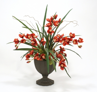 Silk Cymbidium Orchids in Tall Fluted Oval Urn