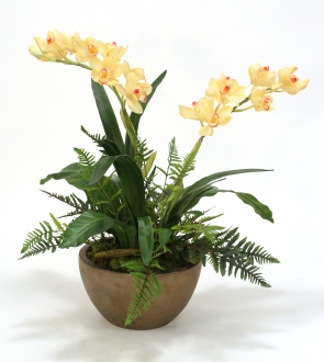 Silk Orchids with Fern Mix in Bowl