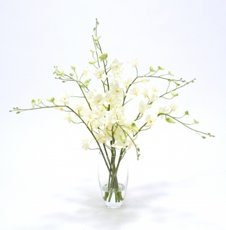 Waterlook® Silk Orchids in Elliptical Glass Vase