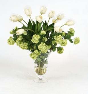 Waterlook Silk Tulips with Snowballs in Flared Ball and Stem Vase