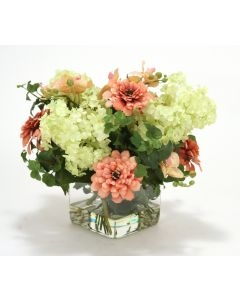 Waterlook (R) Coral, Pink Hydrangeas in Glass Cube