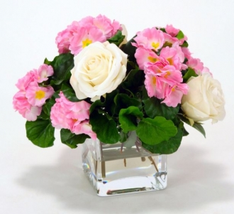 Waterlook (R) Pink Primrose With White Roses In Glass