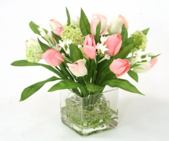 Waterlook (R) Pink Tulip Bundle with Snowballs in Square Glass Vase