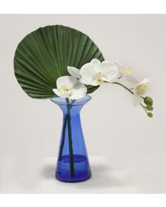 Waterlook (R) White Phaleanopsis Orchids w/ Fan Palm In Blue Bottle