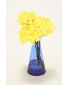 Waterlook (R) Yellow Mums in Blue Astarte Vase