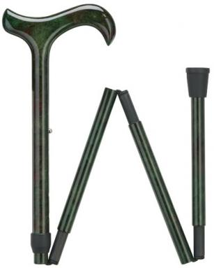 Ladies Carbon Fiber derby folding cane with color matched handle