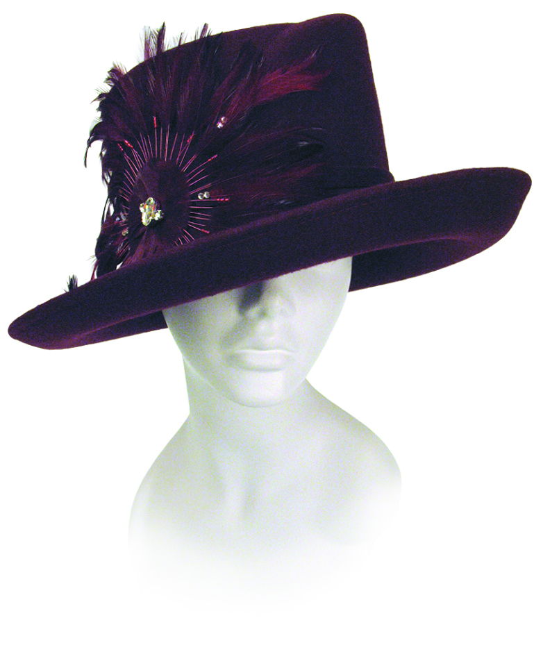 Felt Medium Brim Hat Trimmed with Feathers Church Hats