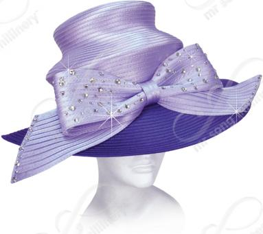 Year-Round 2 Tier Crown Wide Brim with Signature Bow Church Hats