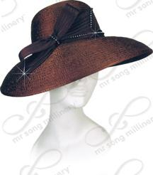 Rounded Crown Medium Brim with Signature Bow Church Hats