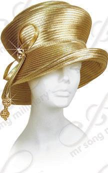 Year-Round 2 Tiered Hat with Tie and Rhinestone Drops Church Hats