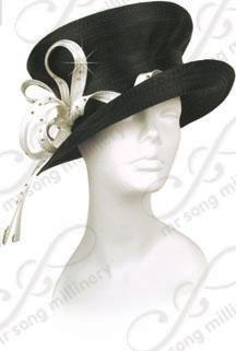 Year-Round Mushroom Topped Hat with Curled Signature Ties Church Hats