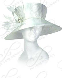 Year-Round Stovepipe Hat with Feather Accent Church Hats