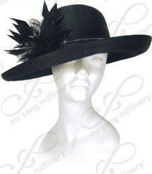 Year-Round Breton Hat with Feather Adornment Church Hats