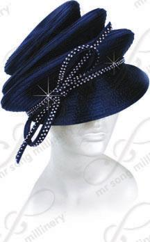 Year-Round tiered crown bib hat with signature rhinestone tie Church Hats