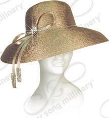 Rounded Crown Down Turned Brim, with Signature Ties Church Hats