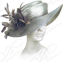 Two Tiered Medium Hat with Feathers Church Hats