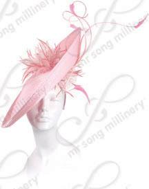 Profile Hat with Feather Accents Church Hats
