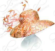 Laced Rounded Crown Downturned Brim with Feathers Church Hats