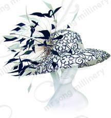 Laced Rounded Top Hat with Feather Trims Church Hats