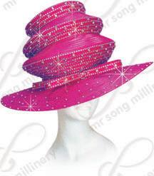Three Tiered Rhinestoned Hat with Signature Bow Church Hats
