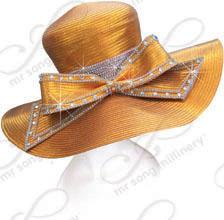 7 inch Wide Hat with Tall Crown and Signature Bow Church Hats