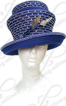 Signature Rhinestoned Two Tiered Hat with Arrow Trim Church Hats