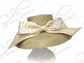 Straw Down Turned Wide Brim Hat with Signature Bow Church Hats