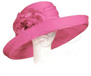 Sewn Satin Wide Brim Hat with Cabbage Flower Church Hats