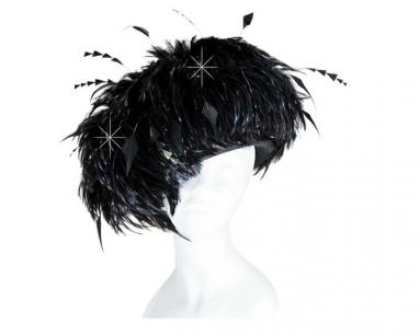 Black Cloch Hat Covered with Feathers Church Hats