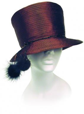 Year Round Small Stove Top Hat Trimmed with Mink Fur Accent Church Hats