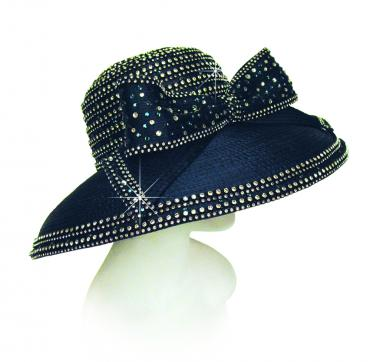 Year Round Large Brim Hat Trimmed with Large Bow & Rhinestones Church Hats