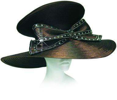 Year Round Beret Top 7' Wide Brim Hat Trimmed with Rhinestoned Bow Church Hats