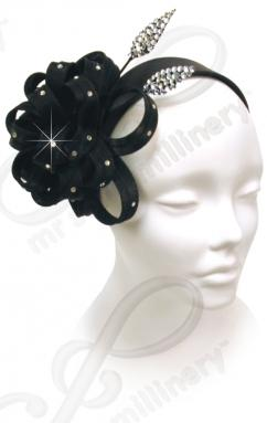 Headband with Signature Flower & Double Diamond Stick Church Hats