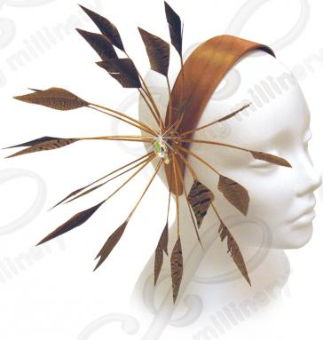 Headband with Signature Fan Feathers & Rhinestones Church Hats
