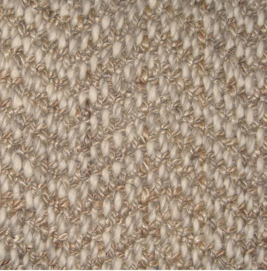 4' x 6' ELYSIAN Hand Spun Jute Boucle w/ Natural Wool Basket Herringbone
