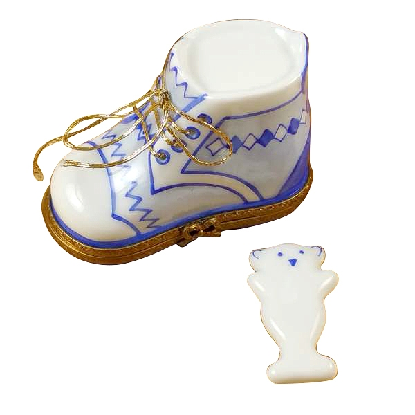 BABY SHOE W/PLAQUE BLUE
