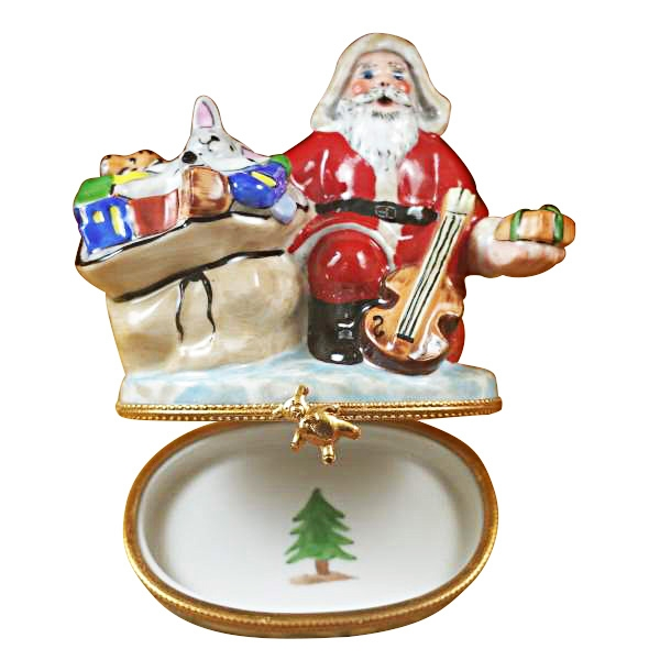 Santa with Gift Bag and Violin