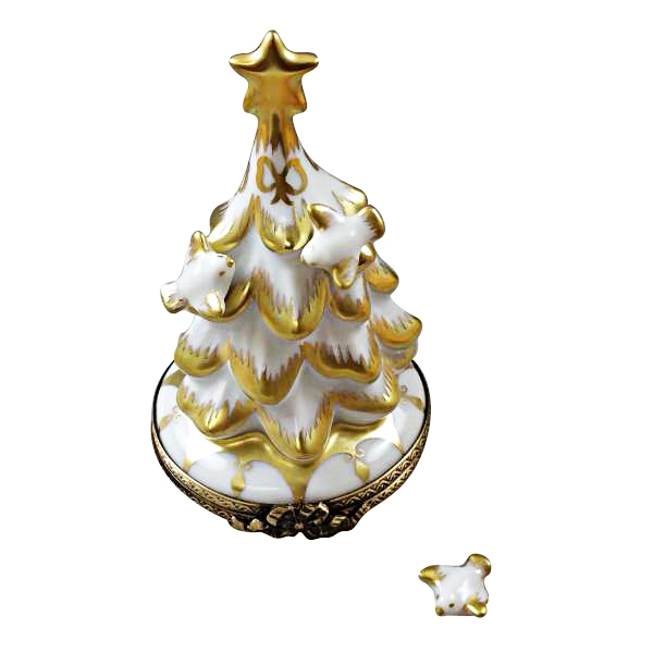 Christmas Tree Doves: WHITE AND GOLD CHRISTMAS TREE WITH DOVES