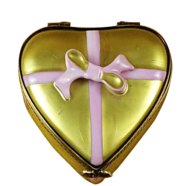 GOLD HEART W/PINK BOW & CHOCOLATES