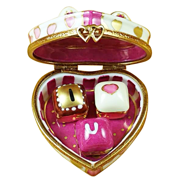 PINK HEART WITH THREE CHOCOLATES