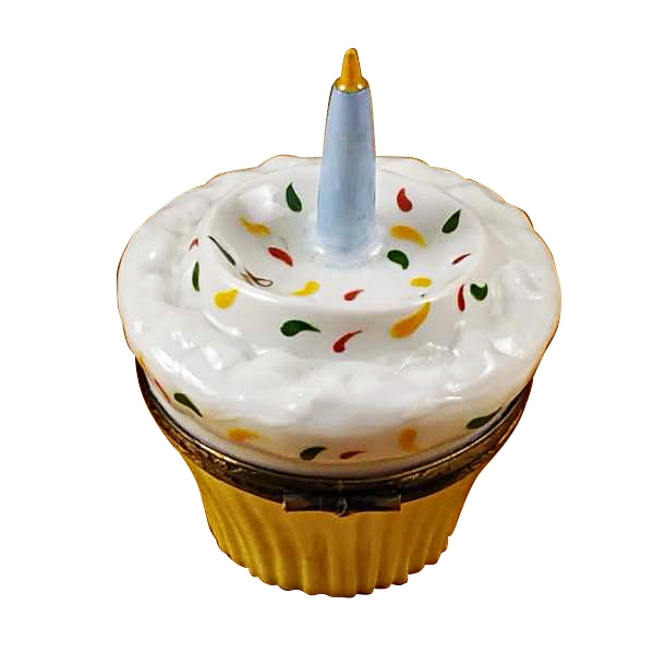 CUPCAKE WITH BLUE CANDLE