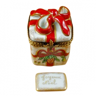 Red ribbon christmas box w/plaque