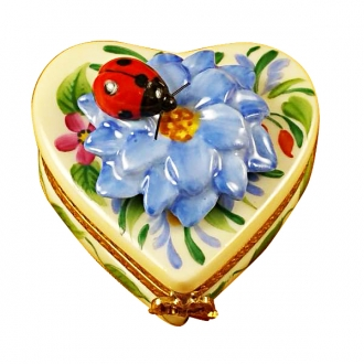 Heart blue flower w/lady bug