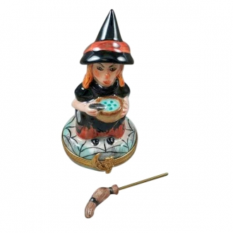 Witch with broom and cauldron