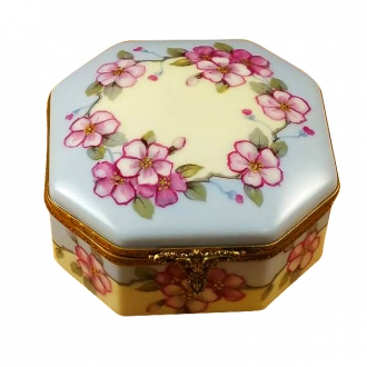 Studio collection - octagonal box pink flowers - sisters w/rabbit