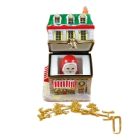 House with Santa and brass reindeer