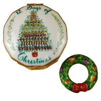 TWELVE DAYS OF CHRISTMAS W/ REMOVABLE PORCELAIN WREATH